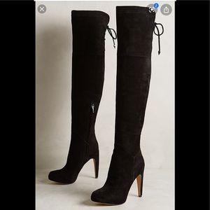 Sam Edelman Black Suede OTK Kayla Boots New Cond